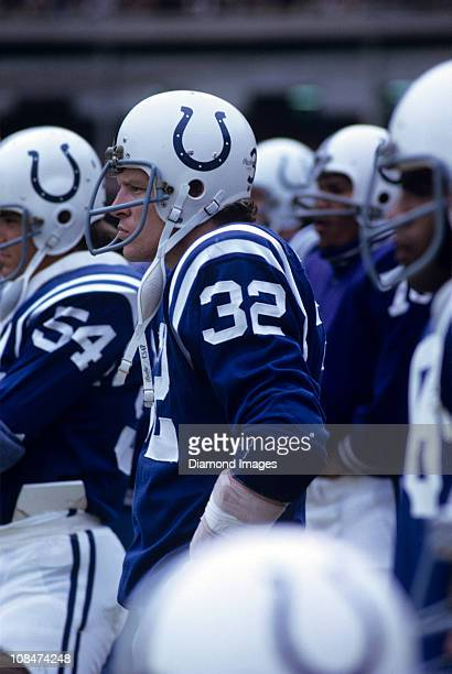 Linebacker Mike Curtis of the Baltimore Colts watches the action from the sidelines during a game in 1972