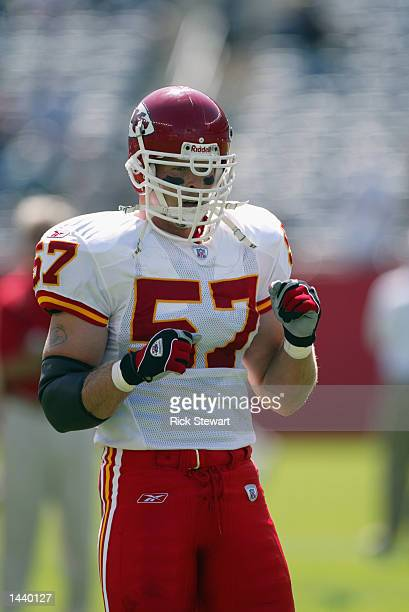 Linebacker Mike Maslowski of the Kansas City Chiefs stands on the field before the NFL game against the New England Patriots on September 22 2002 at...