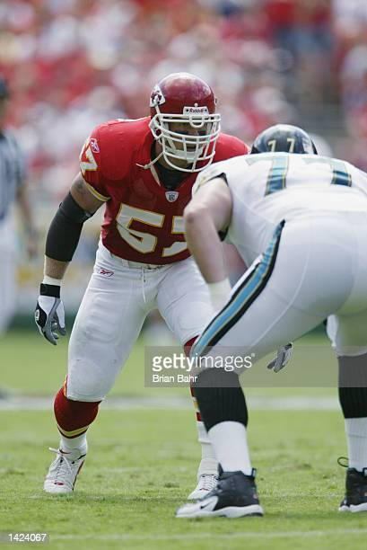 Linebacker Mike Maslowski of the Kansas City Chiefs waits for the snap during the NFL game against the Jacksonville Jaguars on September 15 at...