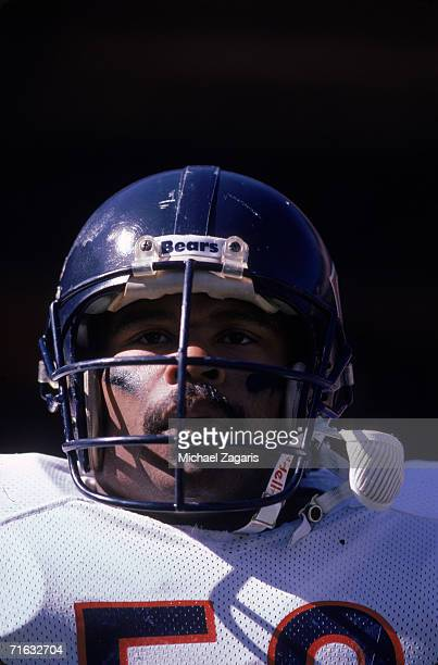 Linebacker Mike Singletary of the Chicago Bears looks on during the game against the San Francisco 49ers at Candlestick Park on October 13 1985 in...