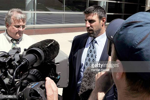 Linebacker Mike Vrabel of the Kansas City Chiefs speaks to members of the media after leaving court ordered mediation at the US Courthouse on May 17...