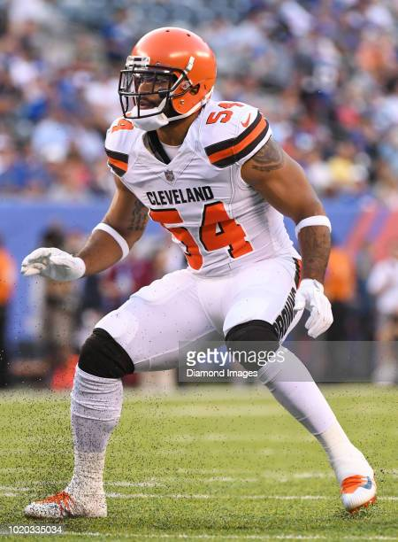 Linebacker Mychal Kendricks of the Cleveland Browns awaits the snap from his position in the first quarter of a preseason game against the New York...
