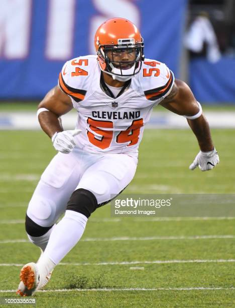 Linebacker Mychal Kendricks of the Cleveland Browns rushes the lines of scrimmage in the first quarter of a preseason game against the New York...