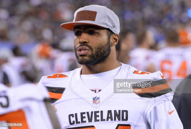 Linebacker Mychal Kendricks of the Cleveland Browns stands on the sideline in the fourth quarter of a preseason game against the New York Giants at...