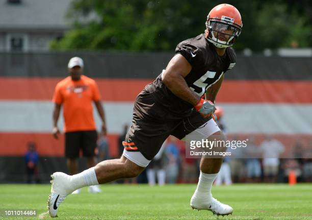 Linebacker Mychal Kendricks of the Cleveland Browns takes part in a drill during a training camp practice on July 27 2018 at the Cleveland Browns...