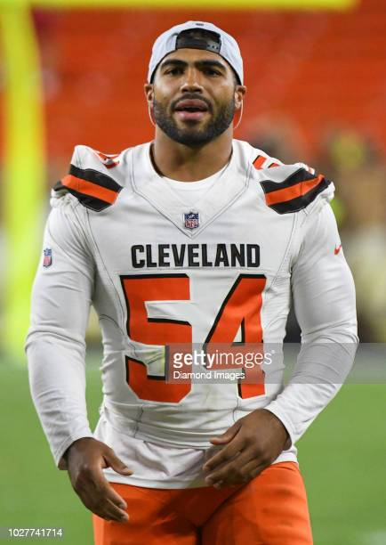 Linebacker Mychal Kendricks of the Cleveland Browns walks off the field after a preseason game against the Philadelphia Eagles on August 23 2018 at...