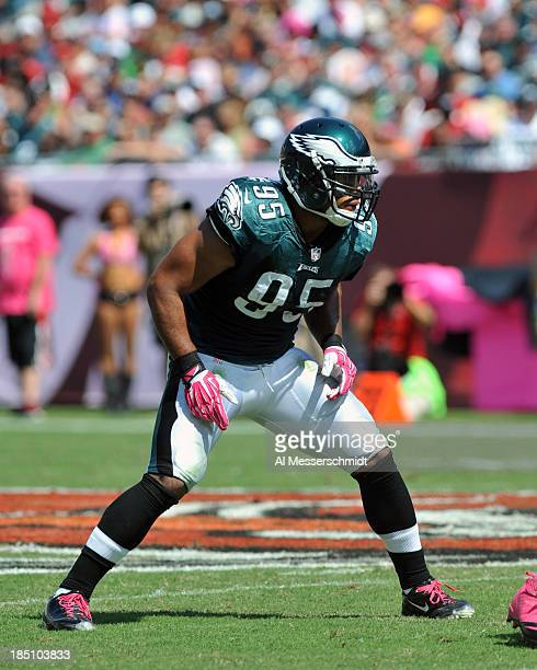 Linebacker Mychal Kendricks of the Philadelphia Eagles sets for play against the Tampa Bay Buccaneers October 13 2013 at Raymond James Stadium in...