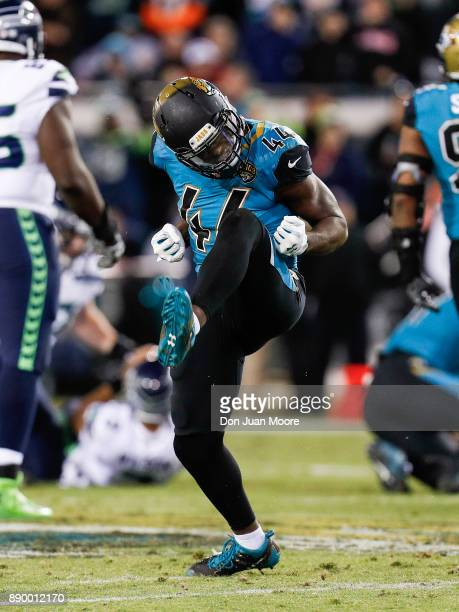 Linebacker Myles Jack of the Jacksonville Jaguars celebrates after a play during the game against the Seattle Seahawks at EverBank Field on December...