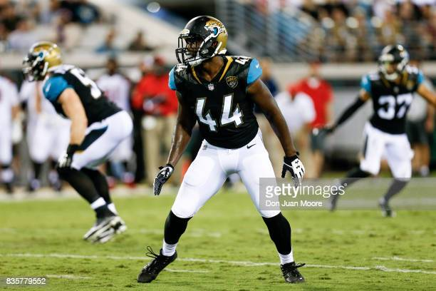 Linebacker Myles Jack of the Jacksonville Jaguars during the game against the Tampa Bay Buccaneers at EverBank Field on August 17 2017 in...