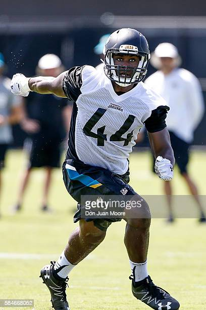 Linebacker Myles Jack of the Jacksonville Jaguars on a pass play during Training Camp at Florida Blue Health and Wellness Practice Fields on July 29...