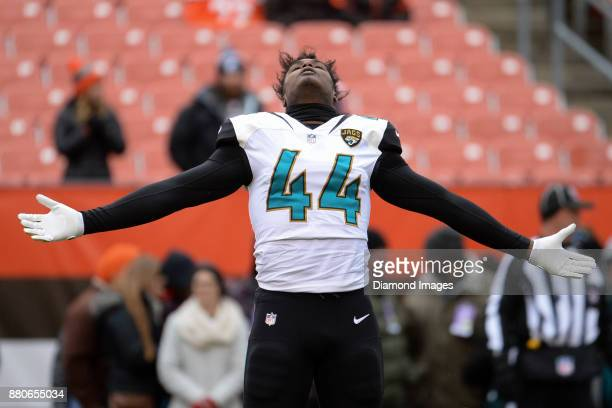 Linebacker Myles Jack of the Jacksonville Jaguars stretches on the field prior to a game on November 19 2017 against the Cleveland Browns at...