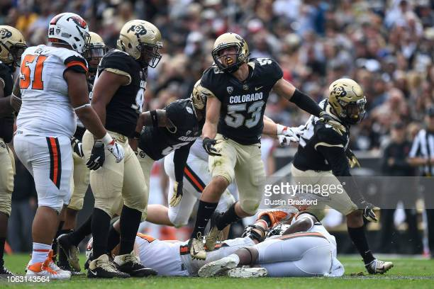Linebacker Nate Landman of the Colorado Buffaloes celebrates after a sack of quarterback Jack Colletto of the Oregon State Beavers during a game at...