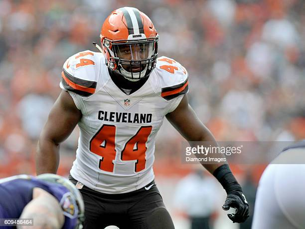 Linebacker Nate Orchard of the Cleveland Browns awaits the snap at the line of scrimmage during a game against the Baltimore Ravens on September 18,...