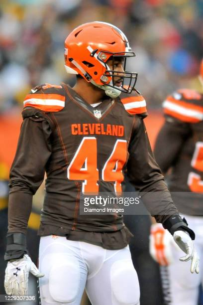 Linebacker Nate Orchard of the Cleveland Browns on the field in the first quarter of a game against the Pittsburgh Steelers at FirstEnergy Stadium on...