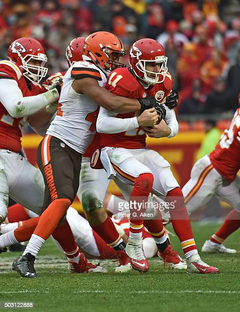 Linebacker Nate Orchard of the Cleveland Browns sacks quarterback Alex Smith of the Kansas City Chiefs during the second half on December 27, 2015 at...