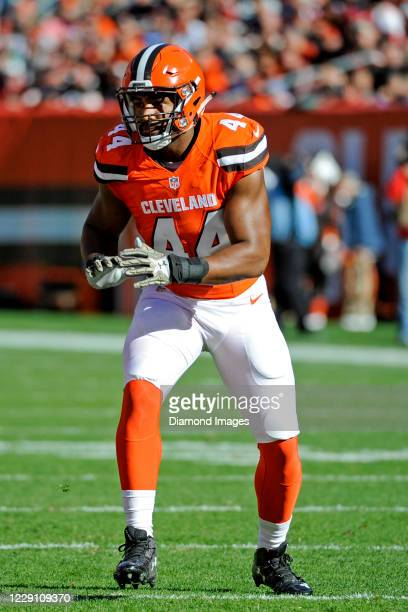Linebacker Nate Orchard of the Cleveland Browns waits for the snap in the first quarter of a game against the Arizona Cardinals on November 1, 2015...