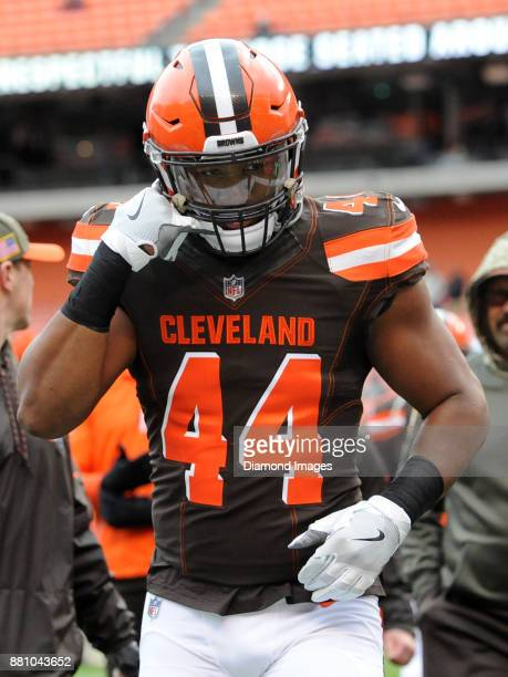 Linebacker Nate Orchard of the Cleveland Browns walks off the field prior to a game on November 19, 2017 against the Jacksonville Jaguars at...