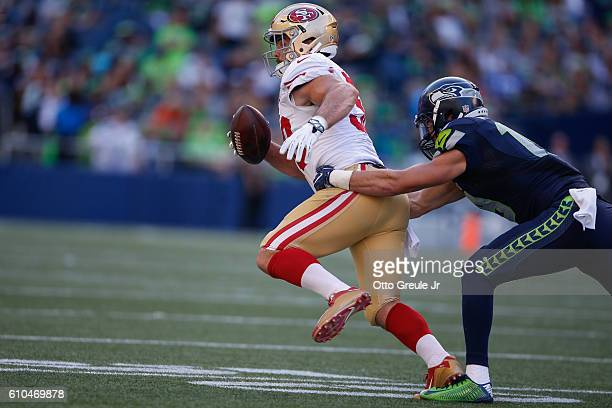 Linebacker Nick Bellore of the San Francisco 49ers returnes an interception against the Seattle Seahawks at CenturyLink Field on September 25, 2016...