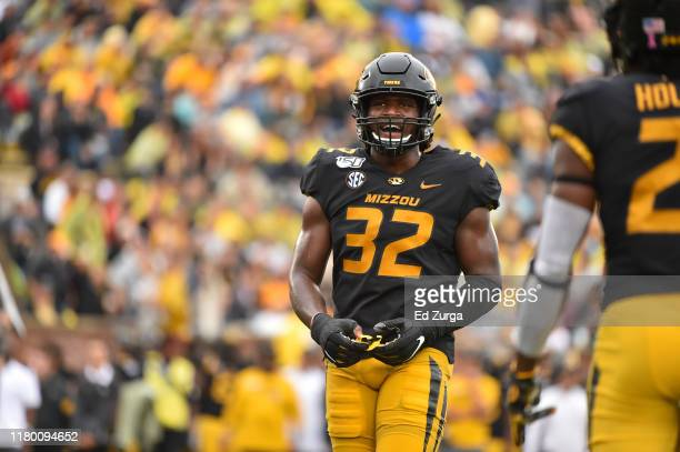 Linebacker Nick Bolton of the Missouri Tigers in action against the Troy Trojans at Memorial Stadium on October 5, 2019 in Columbia, Missouri.