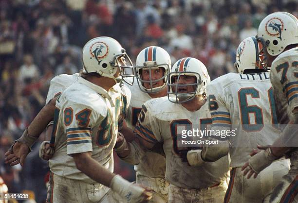 Linebacker Nick Buoniconti pumps up teammates Bill Stanfill Mike Kolen and Larry Little of the Miami Dolphins defensive line during Super Bowl VIII...