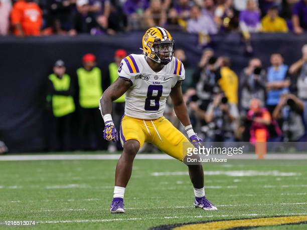 Linebacker Patrick Queen of the LSU Tigers during the College Football Playoff National Championship game against the Clemson Tigers at the...