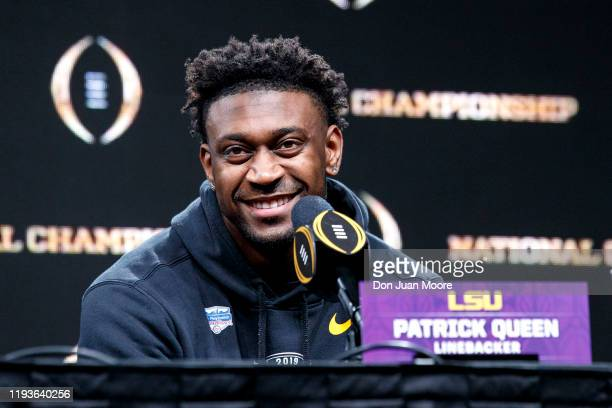 Linebacker Patrick Queen of the LSU Tigers talk with the media during the Winning Press Conference Press Conference after the College Football...