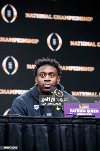 Linebacker Patrick Queen of the LSU Tigers talks with the media during the press conference after the College Football Playoff National Championship...