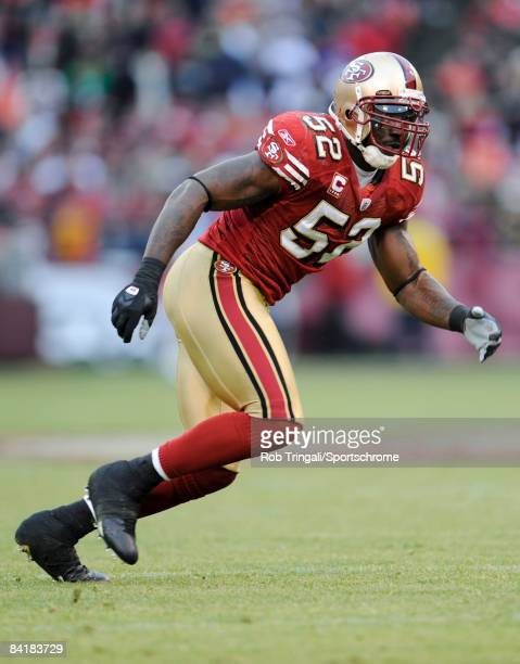Linebacker Patrick Willis of the San Francisco 49ers defends against the New York Jets during an NFL game on December 7 2008 at Candlestick Park in...