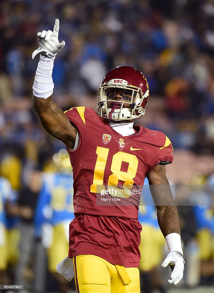 Linebacker Quinton Powell #18 of the USC Trojans celebrates during a 36-14 win over the UCLA Bruins at Rose Bowl on November 19, 2016 in Pasadena, California.