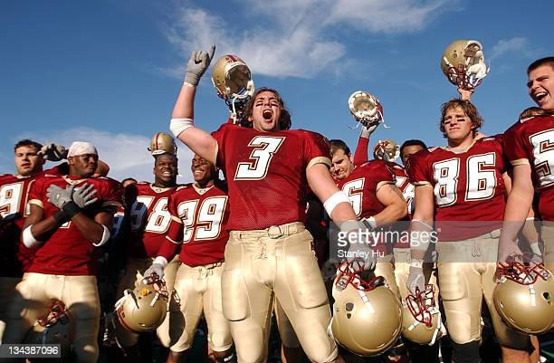 Linebacker Ray Henderson of Boston College celebrates with his teammates after defeating Notre Dame 2725 at Alumni Stadium in Newton MA