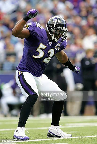 Linebacker Ray Lewis of the Baltimore Ravens celebrates after making a tackle against the Cleveland Browns during the first half October 16, 2005 at...