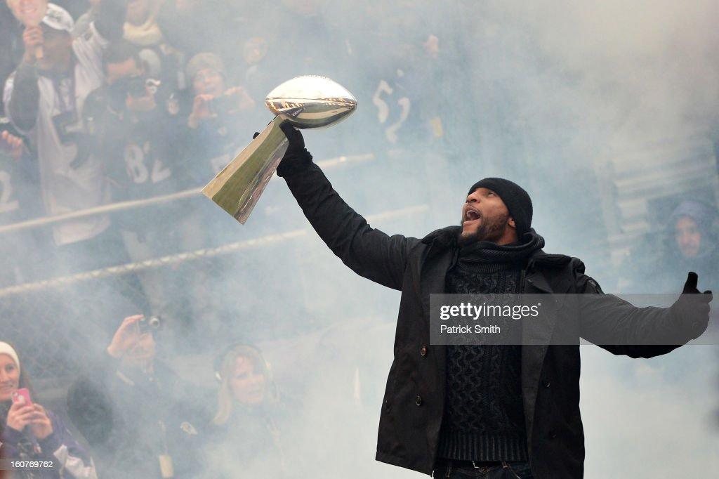 Linebacker Ray Lewis #52 of the Baltimore Ravens celebrates with The Vince Lombardi Trophy as he and teammates celebrate during their Super Bowl XLVII victory parade at M&T Bank Stadium on February 5, 2013 in Baltimore, Maryland. The Baltimore Ravens captured their second Super Bowl title by defeating the San Francisco 49ers.