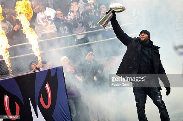 Linebacker Ray Lewis of the Baltimore Ravens celebrates with The Vince Lombardi Trophy as he and teammates celebrate during their Super Bowl XLVII...
