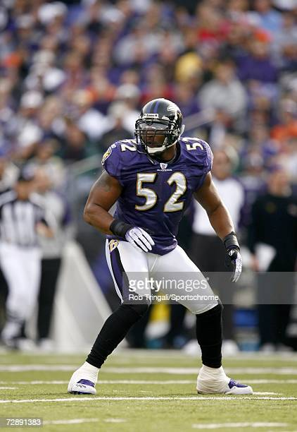 Linebacker Ray Lewis of the Baltimore Ravens is introduced before a game against the Cleveland Browns at M&T Bank Stadium on December 17, 2006 in...