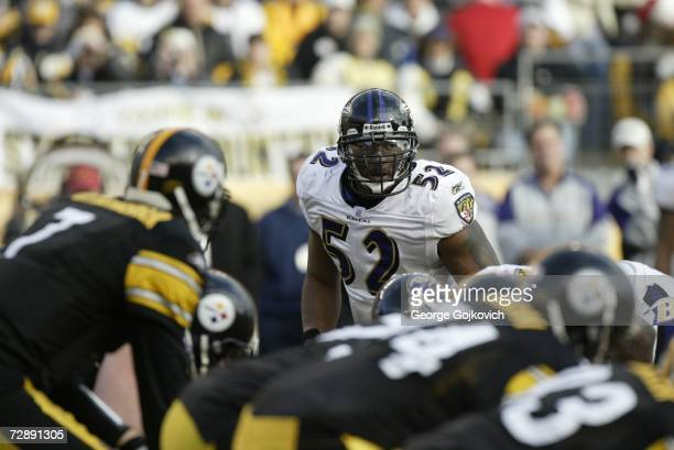 Linebacker Ray Lewis of the Baltimore Ravens looks across the line of scrimmage at the Pittsburgh Steelers offense at Heinz Field on December 24 2006...
