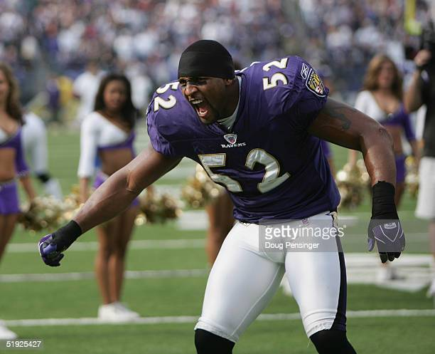 Linebacker Ray Lewis of the Baltimore Ravens looks on before facing the Dallas Cowboys during the game at M&T Bank Stadium on November 21, 2004 in...