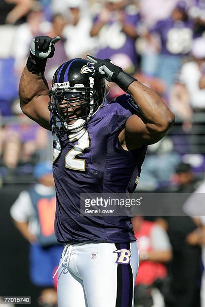 Linebacker Ray Lewis of the Baltimore Ravens pumps up the crowd during a game against the Arizona Cardinals on September 23, 2007 at M&T Bank Stadium...
