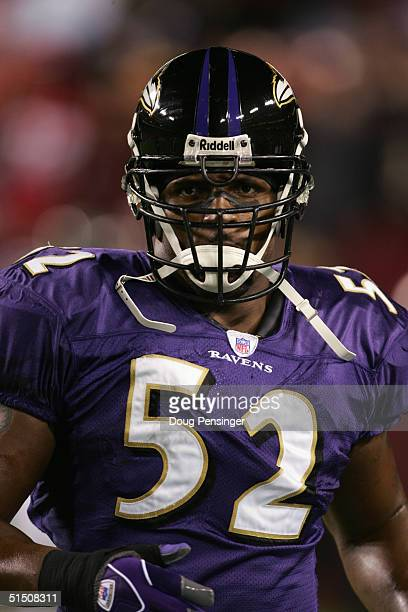 Linebacker Ray Lewis of the Baltimore Ravens stands on the field during the game against the Washington Redskins at FedEx Field on October 10, 2004...