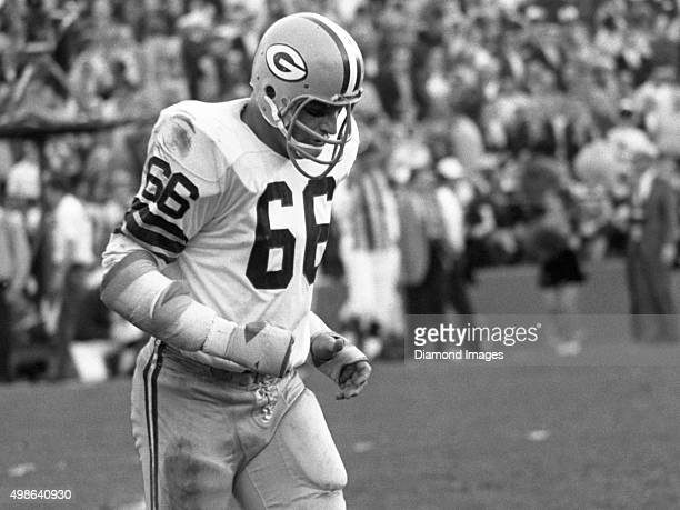 Linebacker Ray Nitschke of the Green Bay Packers walks off the field during Super Bowl II on January 14 1968 against the Oakland Raiders at the...