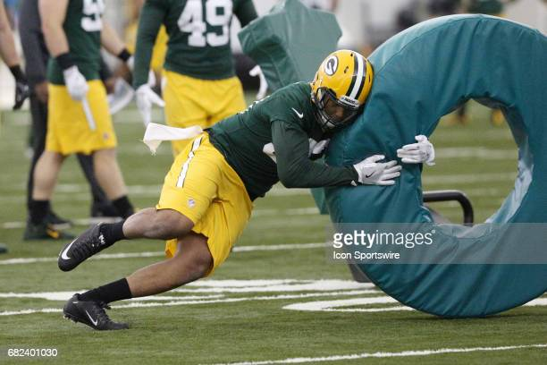 Linebacker Reggie Gilbert works out during the Green Bay Packers rookie camp on May 5 2017 at the Don Hutson Center in Green Bay WI