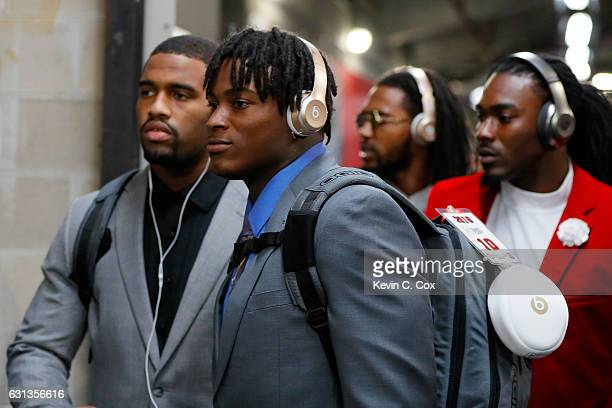 Linebacker Reuben Foster of the Alabama Crimson Tide arrives before taking on the Clemson Tigers in the 2017 College Football Playoff National...
