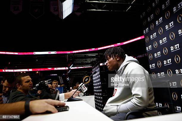Linebacker Reuben Foster of the Alabama Crimson Tide speaks to members of the media during the College Football Playoff National Championship Media...