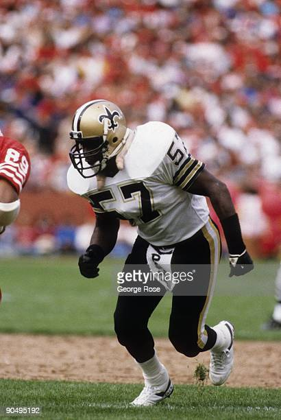 Linebacker Rickey Jackson of the New Orleans Saints in action against the San Francisco 49ers during a game at Candlestick Park on September 29 1985...
