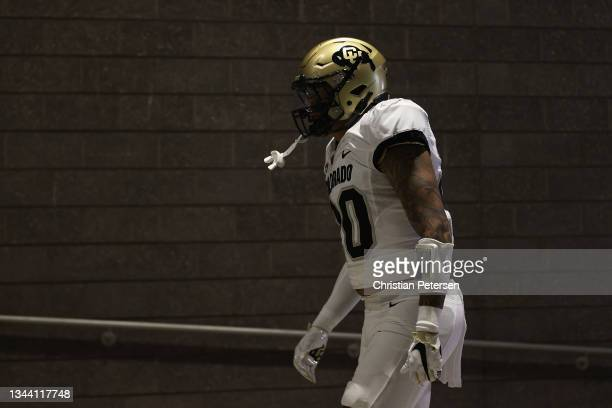 Linebacker Robert Barnes of the Colorado Buffaloes walks out to the field during halftime to the NCAAF game against the Arizona State Sun Devils at...