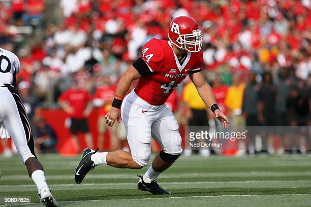 Linebacker Ryan D'Imperio of the Rutgers University Scarlett Knights defends against the University of Cincinnati Bearcats on September 7 2009 at...