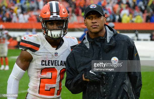 Linebacker Ryan Shazier of the Pittsburgh Steelers and cornerback Denzel Ward of the Cleveland Browns pose for a picture after a game on September 9...