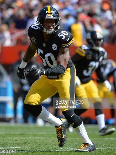 Linebacker Ryan Shazier of the Pittsburgh Steelers drops into pass coverage in the second quarter of a game on September 10 2017 against the...