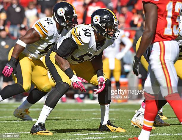 Linebacker Ryan Shazier of the Pittsburgh Steelers gets set on defense against the Kansas City Chiefs during the first half on October 25 2015 at...