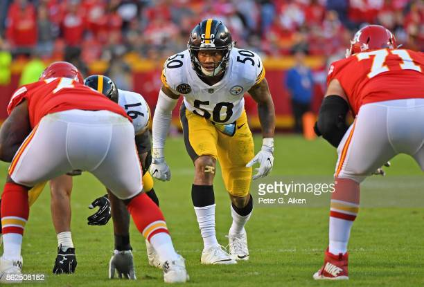 Linebacker Ryan Shazier of the Pittsburgh Steelers gets set on defense against the Kansas City Chiefs during the second half on October 15 2017 at...