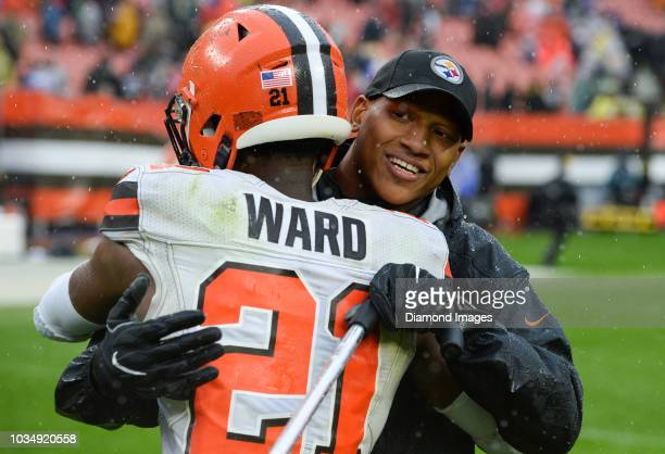 Linebacker Ryan Shazier of the Pittsburgh Steelers hugs cornerback Denzel Ward of the Cleveland Browns after a game on September 9 2018 at...